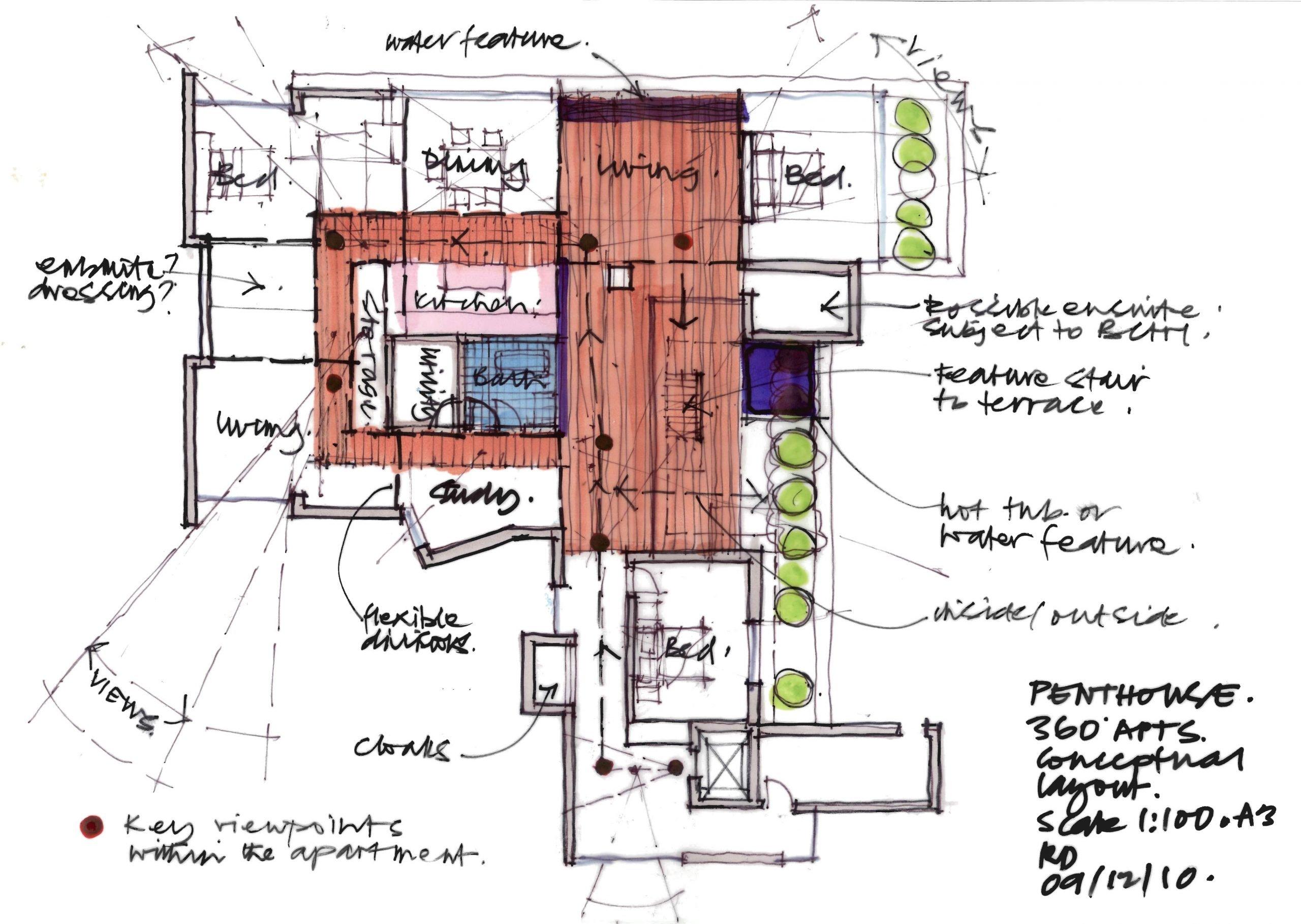 Original sketch for the penthouse